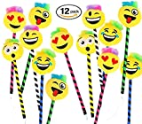 Rhode Island Novelty Playo Plush Emoji Pens - 12 pk - 1 DZ Kids Emoticon School Prizes - 8.5'' Pens Teacher Student Gifts Party Favors
