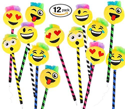 Rhode Island Novelty Playo Plush Emoji Pens - 12 pk - 1 DZ Kids Emoticon School Prizes - 8.5'' Pens Teacher Student Gifts Party Favors by Rhode Island Novelty