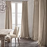 TWOPAGES® Premium Natural Cotton Linen Plastic Firm Adjustable Hook Flax Curtains Drapery ( 1 Panel ) In 50 W by 108 Inch L