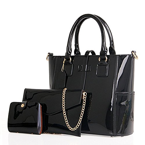 Badiya Retro Oil Wax Leather Women's Satchel Purses Handbags Ladies Tote Bags (3 Pcs -black)
