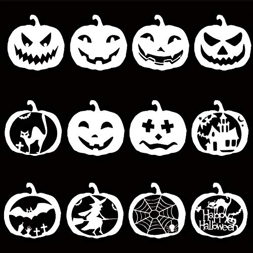 12Pcs Painting Stencil Set,Adv-one Halloween Themes Drawing Templates Pumpkin Shape Painting Boards for Scrapbooking Craft Cards Making DIY Album Kids Toys -