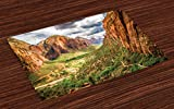 Lunarable National Parks Place Mats Set of 4, Utah Plateau Mojave Desert Southwest Erosion Native Aztec Artistic Print, Washable Fabric Placemats for Dining Room Kitchen Table Decor, Brown Green