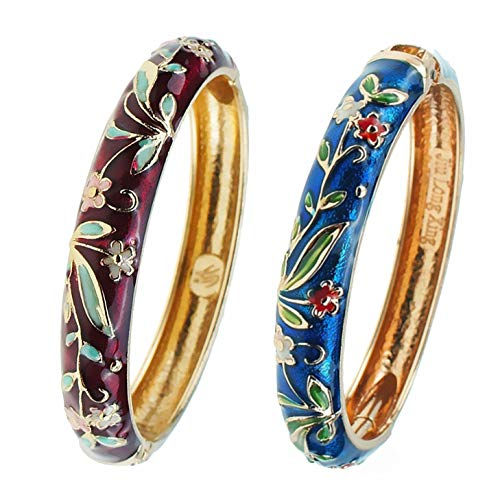 UJOY Cloisonne Bracelet Gold Hinge Indian Cuff Bangle Enameled Jewelry Flower Bracelets for Women Gift Box 55A119 WineRed Blue
