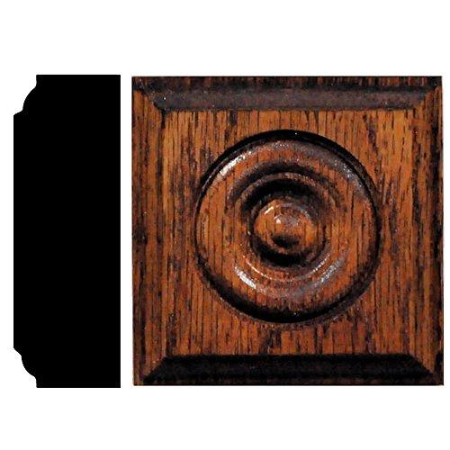 - House of Fara 7/8 in. x 2-1/2 in. x 2-1/2 in. Oak Chestnut Stained Rosette Block Moulding