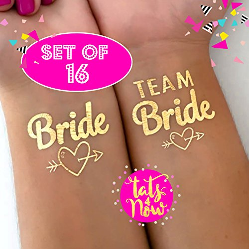 Bachelorette Party Tattoos by Tats4Now Set of 16 Gold Metallic Tattoos Team Bride EditionSet of 16 Bachelorette Party temporary tattoos, fake tattoos, metallic gold bach tats, bridesmaid - Temporary Tattoos Pride