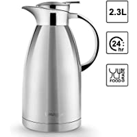 2.3L Vacuum Jug 304 Stainless Steel Double Wall Vacuum Insulated Carafe Coffee Drinks Pot Thermos Coffee Plunger-Juice/Milk/Tea Insulation Pot Water Pitcher