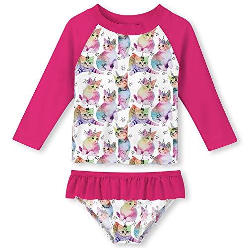 Kids Girls 2 Piece Bathing Suit Long Sleeve Stylish Cat Bikini Swimsuit Ruffles Design Rash Guard Set 7-8 Years