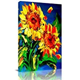 Home Decor Canvas Wall Art Painting, Floral Prints, Morden Artwork Framed for Living Room Wall Decorations Ready to Hang 12'x18'