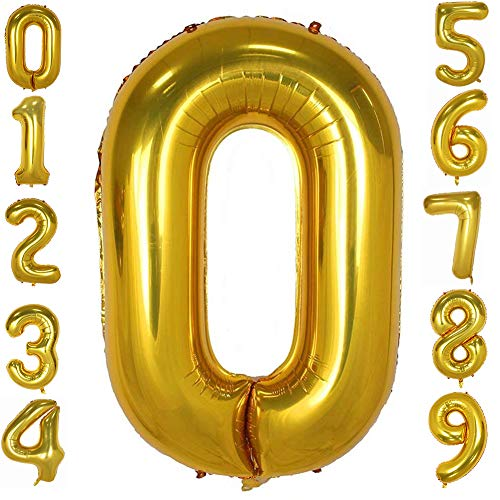 Tellpet Gold Number 0 Balloon, 40 Inch