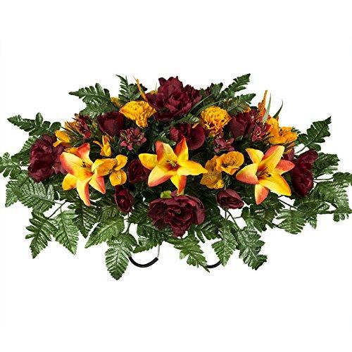 Burgundy and Orange Fall Mix Artificial Saddle Arrangement ()