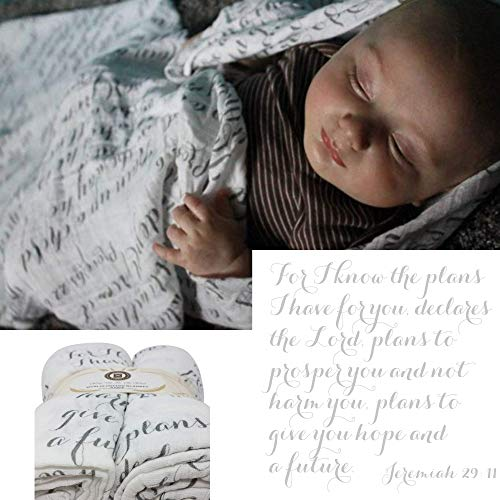 Scripture Strong Jeremiah 29:11 | Best Muslin Baby Swaddle Blanket Gift Set | 100% Cotton Receiving Blankets | Extra Large (4x4) | Gray, 2 Pack