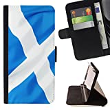 Graphic4You Scotland Scottish Flag Thin Wallet Card Holder Leather Case Cover for HTC Desire 816