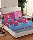 Disney Athom Trendz Princess Cinderella Double Cotton Bed Sheets(224cm x 250cm) along with 2 Pillow Covers(43cm x 68cm)
