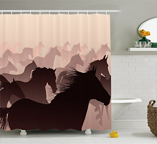 Wildlife Decor Shower Curtain by Ambesonne, Equestrian Reflection of Running Horses Race Champion Sports Hobby Graphic, Fabric Bathroom Decor Set with Hooks, 75 Inches Long, Pink Wine (Wild Horse Race)