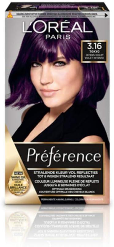 LOréal Paris Préférence Infinia 3.16 Deep Purple P38 coloración del cabello Violeta - Coloración del cabello (Violeta, Deep Purple P38, De larga ...