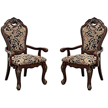 Furniture Of America CM3243AC 2PK Vicente Arm Chair Set Of 2 Dining