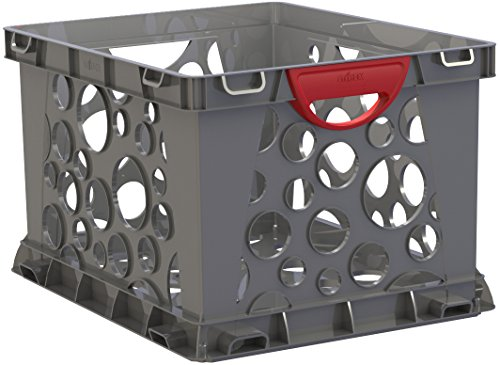 Storex Recycled Filing Crate with Comfort Handles, 17.25 x 14.25 x 10.5 Inches, Red, Case of 3 (STX61790U03C)