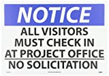 NMC N223AC OSHA Sign, Legend NOTICE - ALL VISITORS MUST CHECK IN AT PROJECT OFFICE NO SOLICITATION, 20'' Length x 14'' Height, Aluminum, Black/Blue on White