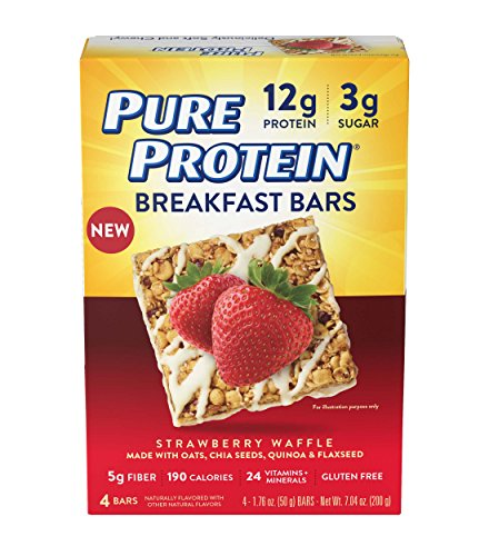 Pure Protein Breakfast Bars, Strawberry Waffle, 1.76 oz, 4 Count