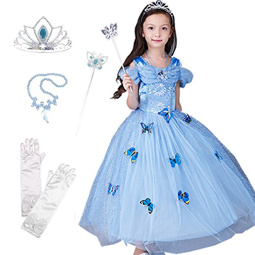 [BTW.JP] Cinderella Crystal Princess Party Costume Butterfly Dress Accessories (6-7) (5 Inexpensive Halloween Costumes)