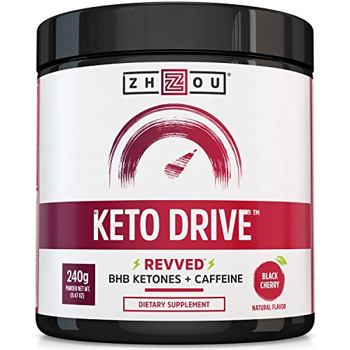 KETO DRIVE with Caffeine Exogenous Ketone Complex - BHB Salts for Ketosis, Energy and Focus - Patented Beta-Hydroxybutyrates & Electrolytes (Calcium, Sodium, Magnesium) - Black Cherry 'REVVED'