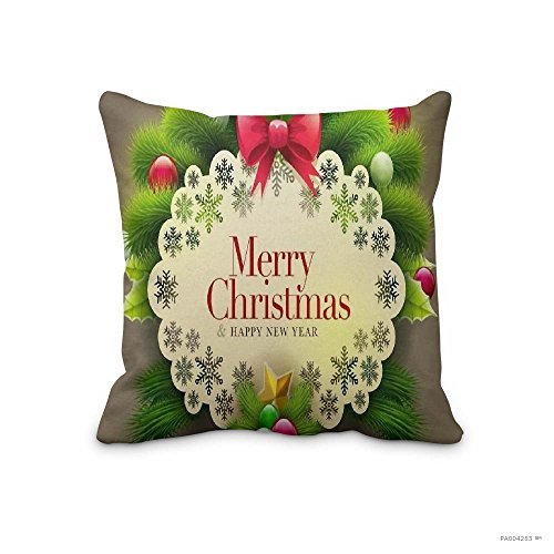 Merry Christmas Happy New Year Throw Pillow Cover Cushion Cover Christmas No-843 Pillowcase for Sofa,Bed and - Watch Before Online Night Falls