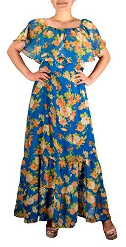Peach Couture para mujer verano Gypsy de Bohemia Vintage Resort Vestido de flores largo Maxi Floral verde azulado