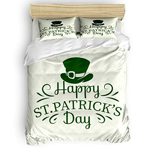 4 Piece Bedding Set Comforter Cover Twin Size, Irish Leprechaun's Hat Treasure St. Patrick's Day Lucky Clover Silhouette Pattern, 4 pcs Duvet Cover Set Bedspread Daybed for Childrens/Kids/Teens/Adults