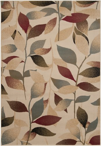 Diva At Home 4' x 5.5' Summer Leaves Tan, Steel Blue and Ruby Red Shed-Free Area Throw Rug 4 Ruby Area Rugs