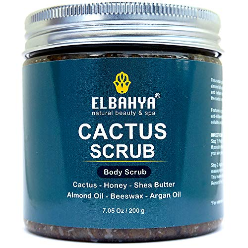 Organic Cactus Body Scrub, Anti Cellulite and Stretch Mark Treatment Ultra Moisturizing and Nourishing Properties with Organic Prickly Pear Cactus, Honey, Shea Butter, Almond Oil, Beeswax and Argan