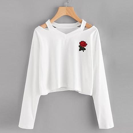 dcea423fa6478 Bonjouree Sweat-Shirt Courte Femme Imprimé Rose T-Shirt Manches Longues Ado  Fille Pull Chic  Amazon.fr  Vêtements et accessoires