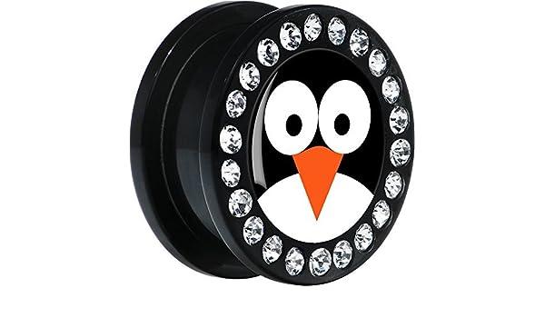 Acrílico Negro Pingüino Cara Dilatador Ajuste Rosca Par 20mm: Amazon.es: Joyería