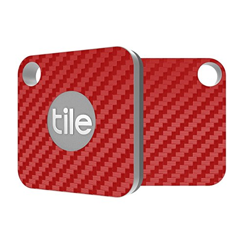 Tile Mate Compatible - Red Carbon Fiber Premium Skin Decal by Aretty (2 - Pack)