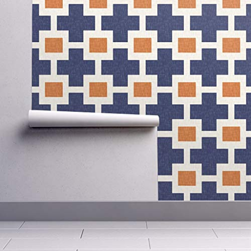 Peel-and-Stick Removable Wallpaper - Plus Square Geometric Modern Plus Cross Square Navy Orange Geo Modern by Willowlanetextiles - 24in x 60in Woven Textured Peel-and-Stick Removable Wallpaper - Orange Geometric Wallpaper