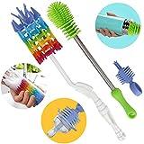2PC Bottle Cleaning Brush Set, PP + Nylon Resin Cup Cleaner - 90 Degree Bending, Flexible Nano Sponge Scourer, Long Handle Multi-Function Household Tools For Decanters, Goblets, Glasses, Cups
