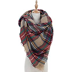 Women Plaid Blanket Winter Scarf
