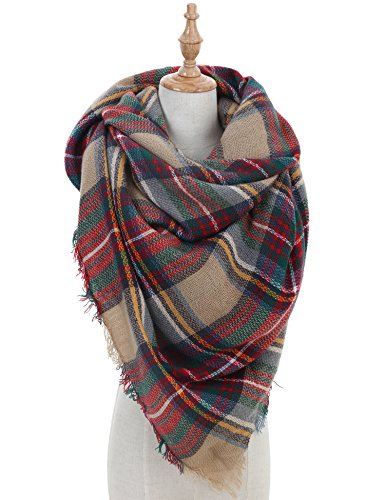 Women Plaid Blanket Scarf  Warm Winter Tartan Wrap Shawl Gorgeous, Stylish