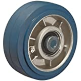 RWM Casters Elastometric High Tensile Non-Marking Rubber on Aluminum Wheel, Ball Bearing, 800-Pounds Capacity, 5-Inch Wheel Dia, 2-Inch Wheel Width, 2-1/2-Inch Plate Length