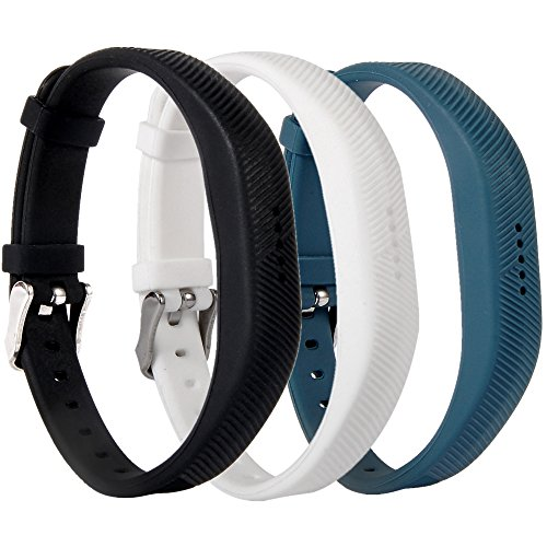 Huishang Flex 2 Accessory Bands for Fitbit Flex 2, with Chrome Claspor Soft Silicone Fitness Bracelet Strap,Wrist Band Adjustable Repalcement (Black、White、Navy) ()