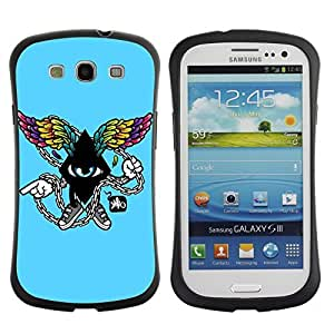 Hybrid Anti-Shock Bumper Case for Samsung Galaxy S3 / Cool Abstract Wings
