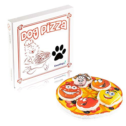 Easyology Pizza Dog Toy for Aggressive Chewers - with 5 Removable Toppings & Delivery Box - Bite Proof Plush Puppy Toys for Hungry Hounds - Stuffed Plush Dog Toys/Dog Chew Toys