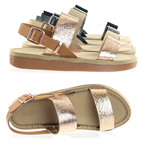 Sandal Gold Rose Toe Form Light Flat Bamboo Open Foam Ultra Shoes Platform Laired n7CCYwFXq