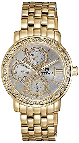 Titan Women's Contemporary Chronograph, Multi Function, Work Wear,Gold, Silver Metal, Leather Strap, Mineral Crystal, Quartz, Analog, Water Resistant Wrist Watch ()