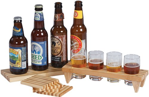Personalized Four Pilsner Glass - Craft Beer Sampler Set With Flights, Glasses And Board By Picnic Plus