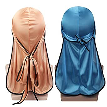 Silky Soft Durag (2PCS) with Extra Long Tail and Wide Straps Headwrap Du-Rag for 360 Waves,Free Size,Rose Gold Black+baby Blue Black