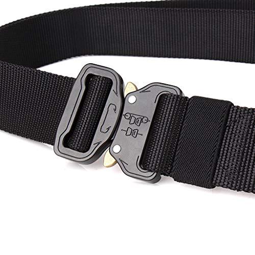 Hattfart Men Tactical Buckle Belt Heavy Duty Metal Buckle Military Webbing Nylon Belt Training Strap (Black) by Hattfart (Image #3)