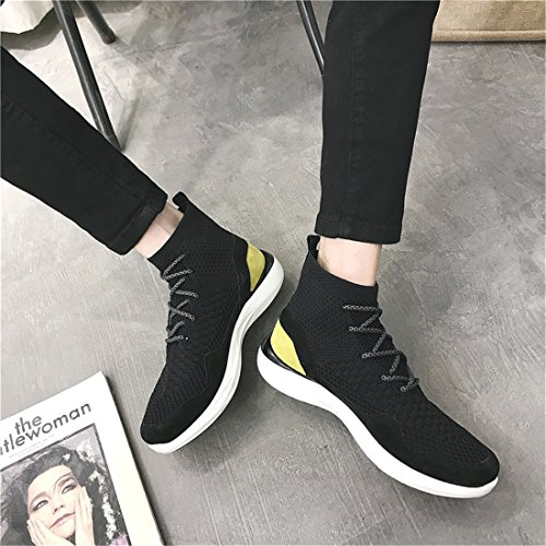 Mens Outdoor Sport Running Walking Shoes Lightweight Casual Sneakers W2820 Black Grey VYY74j6V