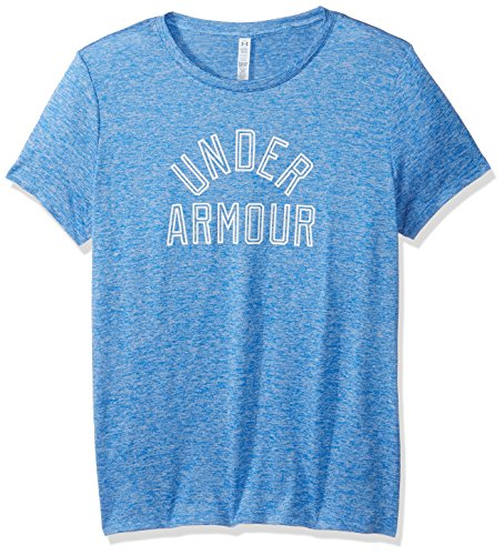 Under Armour Women's Tech T-Shirt - Twist Graphic,Mediterranean (437)/White, Small
