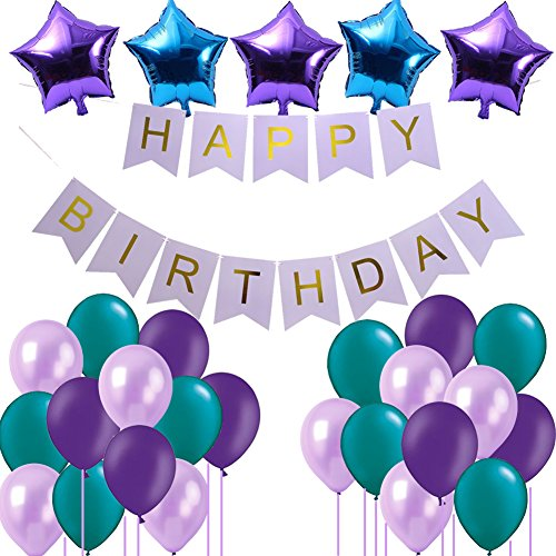 Frozen Birthday Supplies- Happy Birthday Banner 18inch Star Shaped Foil Balloons 12-inch Latex Balloons for Mermaid Birthday Party Decorations Under the Sea Party Supplies (Teal, Lavender, Purple)