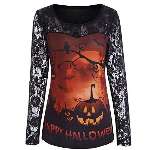Women Halloween Shirt Costume Pumpkin Lace Patchwork Asymmetric Blouse Loose Top(E,Large)